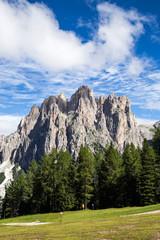 Fototapete - View of the Rosengarten (Catinaccio) in summer, in the Italian Dolomites