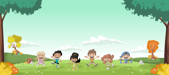 Green grass landscape with cute cartoon kids.