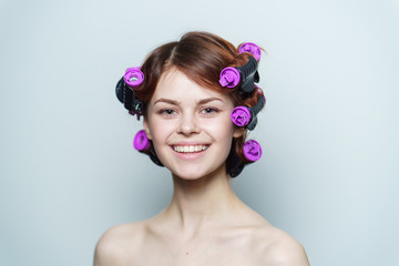 woman in curlers, woman ,curler