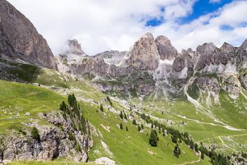 Fototapete - View of the Roda di Vaèl (Rosengarten group) in the Italian Dolomites
