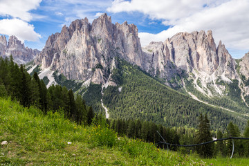 Wall Mural - View of the Rosengarten (Catinaccio) in summer, in the Italian Dolomites