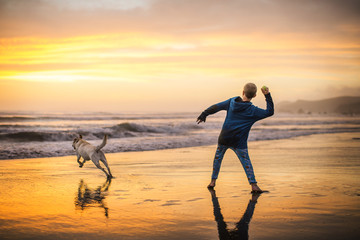 Young boy playing fetch with his dog on the beach at sunset.