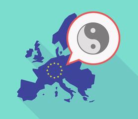 Long shadow EU map with a ying yang