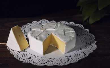 Camembert with noble white mold. Exquisite cheese.