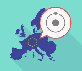 Long shadow EU map with an atom