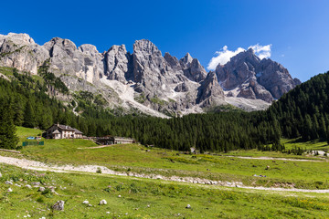 Fototapete - View of Val Venegia in summer with the Pale di San Martino in background. Dolomites, northern Italy.