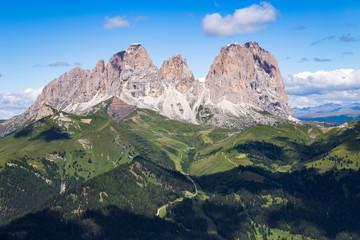 Fototapete - The Sassolungo (Langkofel) Group of the Italian Dolomites in summer