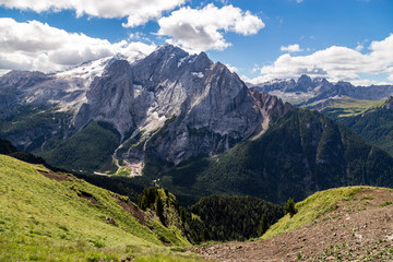 Fototapete - View of the Marmolada, also known as the Queen of the Dolomites. Marmolada is the highest mountain of the Dolomites, situated in northeast of Italy.