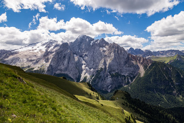 Wall Mural - View of the Marmolada, also known as the Queen of the Dolomites. Marmolada is the highest mountain of the Dolomites, situated in northeast of Italy.