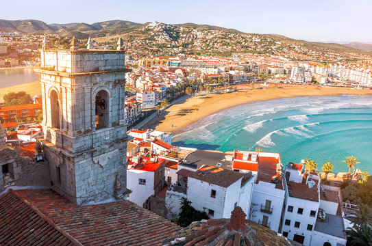 Spain. Valencia,  Peniscola. View of the sea from a height of Pope Luna's Castle. The medieval castle of the Knights Templar on the beach. Beautiful view of the sea and the bay. Mediterranean Sea.