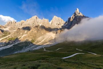Fototapete - The Pale di San Martino peaks (Italian Dolomites) at sunset.