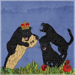 Pantere colorate con sfondo colore, vintage, pop art con corona e collare, lottano i felini giocano. Con cornice colorate con fiori e foglie, carta con effetto acquarello.