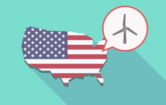 Long shadow USA map with a wind turbine
