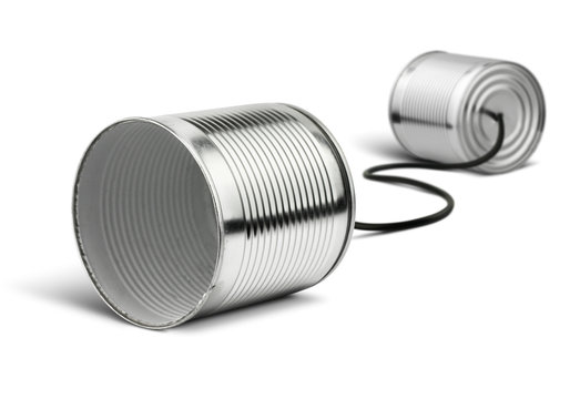 Tin cans telephone isolated on white, global communication conce