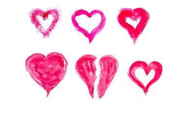 Set of hand drawn watercolor hearts