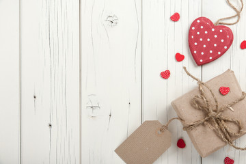 Valentine's day background with hearts and gift box