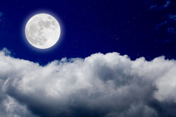 Printed roller blinds Night Romantic night with full moon in space over stars with cloudscap