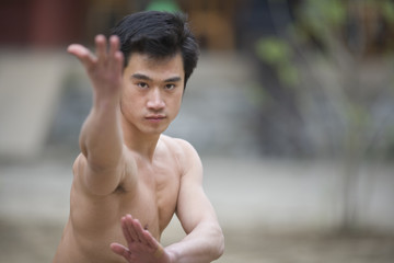 Young adult man practicing Tai Chi.