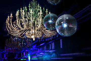 disco balls, large chandelier
