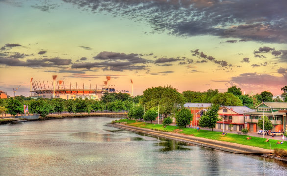 The Yarra River with Melbourne Cricket Ground - Australia