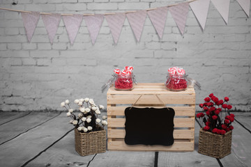Kissing booth on studio background