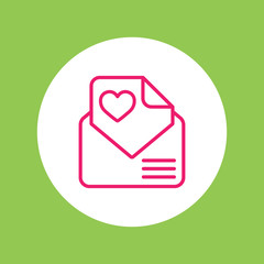 valentine day 14 february card envelope with heart line icon