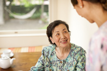 Senior woman receiving a visit at home from her nurse.