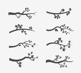 Vector tree branches silhouette with leaves