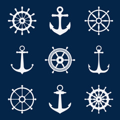 Steering ship wheels and anchors icons. Naval navigation vector signs