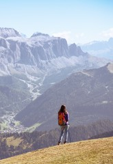 tourist girl at the Dolomites