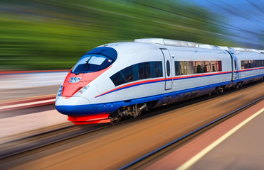Modern train at high speed Fotomurales