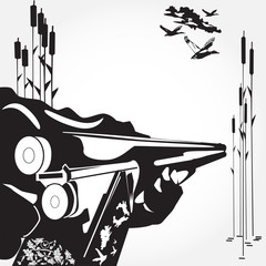 Loading of a rifle concept black and white vector illustration in flat style