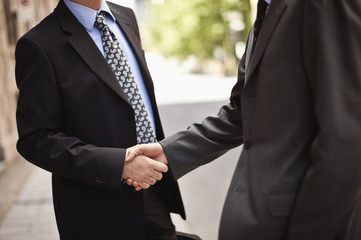 Two businessmen shake hands outdoors