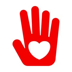 red hand with heart