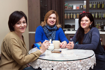 a group of women in a cafe