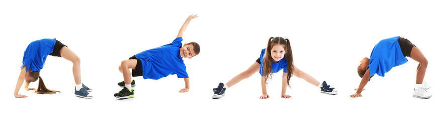 Collage of cute children dancing on white background