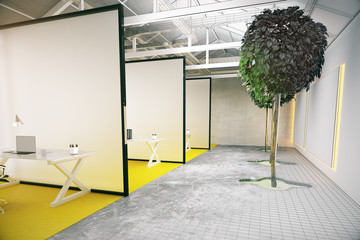 workplace with living plant