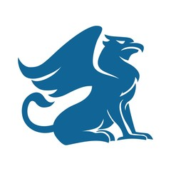 Fototapete - Griffin blue silhouette