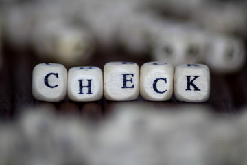 Check Word Written In Wooden Cube