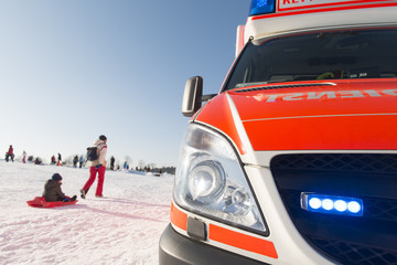 Paramedics and Ambulance in Winter Scenery 3