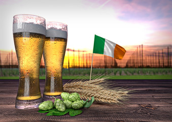 beer consumption in Ireland. 3D render