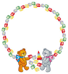 Cute teddy bears. Children toys. Vector clip art.
