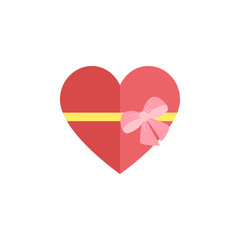 Gift box of heart tied with ribbon.