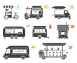 Collection of eight vehicles and trailers of different design and purpose which are used as promo stands, movable stalls, lodge, kiosks and sales objects.