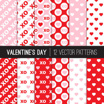 Pink and Red Valentine's Day Patterns with Hearts, Hugs and Kisses XOXO, Love Symbols. Modern Romantic Background Textures. Vector Tile Swatches Included.