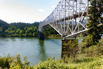 The Bridge of the Gods linking Oregon and Washington near Portland, Oregon.