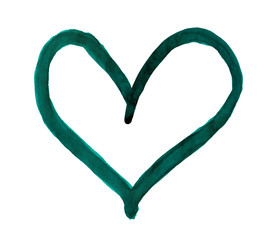 The outline of the dark sea green color heart drawn with paint on white background