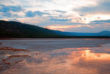 Grand Prismatic Spring at sunset in the Midway Geyser Basin in Yellowstone National Park U S of A