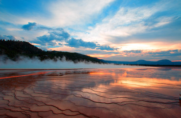 Grand Prismatic Spring at sunset in Yellowstone National Park in Wyoming US