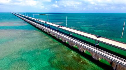 Beautiful aerial view of Florida Keys Bridge